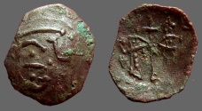Ancient Coins - Bulgaria. Ivan and Theodora AE20 trachy.  Standing either side of cross / Monogram.