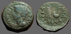 Ancient Coins - Augustus. Spain, Colonia Patricia.  AE22.  Apex and simpulum