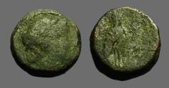 Ancient Coins - Seleukos III AE12 Artemis / Apollo on omphalos