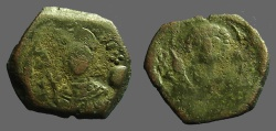 Ancient Coins - Manuel I AE 1/2 Tetarteron. Bust of St. George / Facing bust of Manuel