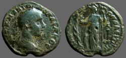 Ancient Coins - Gordian III AE26 Serpent entwined tree, Athena w. spear.  Nikopolis ad Istrum