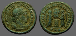 Ancient Coins - Constantine I AE3 Helmeted bust rt / Victories holding shield w. VOT PR.  Trier.