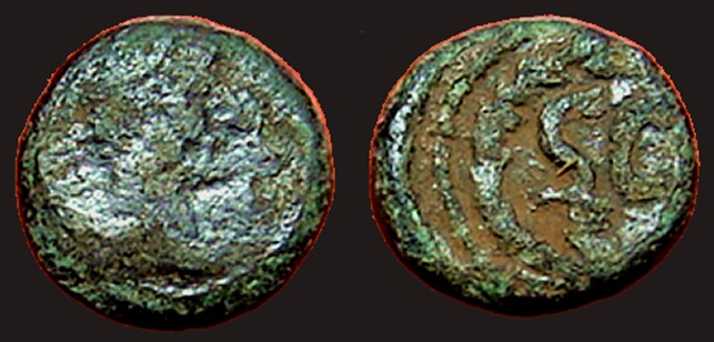 Ancient Coins - Hadrian AE9 unit.  Bust right / SC within wreath
