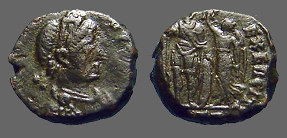Ancient Coins - Arcadius AE3 Victory holds wreath over Arcadius.