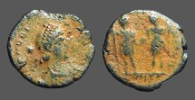 Ancient Coins - Honorius AE3  Joint reign issue.  Honorius and Arcadius hold globe between them