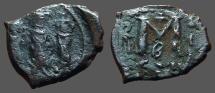 Ancient Coins - Heraclius & Heraclius Constantine , Empress Martina.  AE21 Follis.  Constantinople