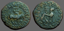 Indo-Scyth. / Bactrian. Azes II, AE22 Hexachalkon, Bull / Lion.  Taxila