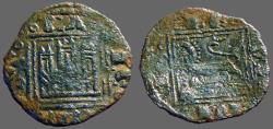 World Coins - Enrique II 13mm billon Noven.  Castle / Lion
