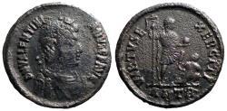 Ancient Coins - Valentinian II AE2 Emperor w. standard, captive.  Antioch