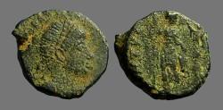 Ancient Coins - Arcadius AE3 (14mm) Victory holds wreath over Arcadius.  Antioch, Turkey
