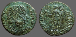 Ancient Coins - Magnentius AE22.Centenionalis.  Emperor stg.w. Chi Rho banner & Victory