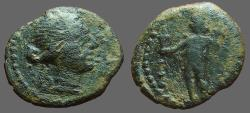 Ancient Coins - Spain, Corduba AE16 Semis. Bust of Venus / Winged Eros w. torch & cornucopia