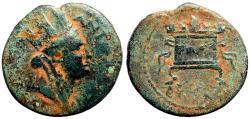 Ancient Coins - Seleukis and Pieria, Antioch AE21 Trichalkon.  Tyche / lit Altar