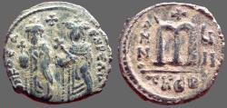 Ancient Coins - Phocas & Leontia AE27 Follis.  Antioch.  year 7