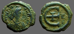 Ancient Coins - Justinian I AE pentanummium. Large 'E' w. cross at center. Constantinople.