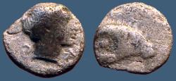 Ancient Coins - Caria, Kasolaba hemiobol AR7 Head of Ram / Male hd rt.