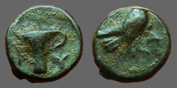 Ancient Coins - Aeolis, Kyme.  AE10 Eagle rt / Vase