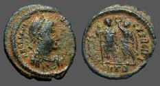 Ancient Coins - Arcadius AE3 (18mm) Victory holds wreath over Arcadius.  Antioch, Turkey