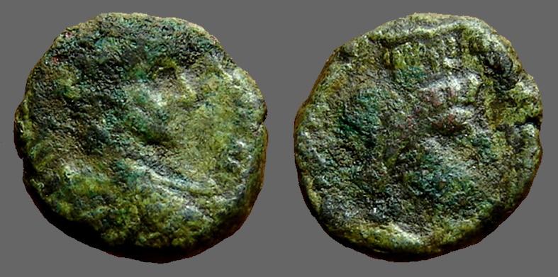 Ancient Coins - Elagabalus AE17 Caesarea.  bust of Sarapis w. modius