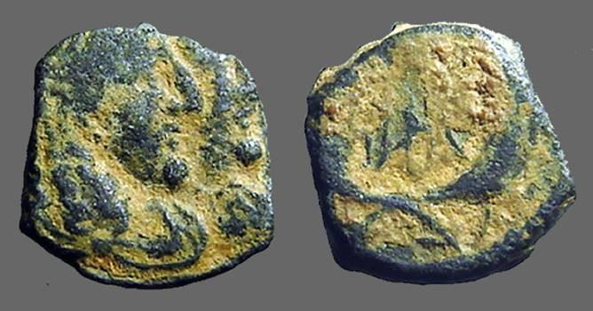 Ancient Coins - Rabbell II & Gamilat AE17, jugate busts / Crossed Cornucopia. Petra.