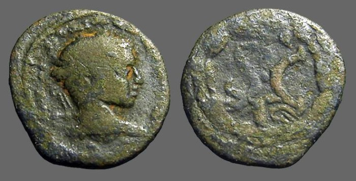 Ancient Coins - Severus Alexander AE20  SC within laurel wreath.  Eagle below.  Antioch on Orontes.