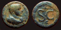 Ancient Coins - Diadumenian AE17 Antioch, Syria, SC within wreath.