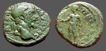 Ancient Coins - Septimius Severus AE16 Nicopolis ad Istrum. Hercules, nude, stg. holds patera,  rests club on rocks