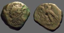 Ancient Coins - Ptolemy VI AE21 Zeus Ammon / 2 Eagles left on thunderbolt. Cyprus.