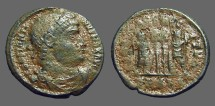 Ancient Coins - Constantine the Great AE3, GLORIA EXERCITUS, 2 soldiers, 2 Standards
