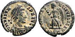 Ancient Coins - Valens AE3 SECVRITAS REIPVBLICAE  Victory adv. left.  Alexandria, Egypt
