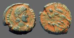 Ancient Coins - Constantius II, 346-354 AE3 soldier spearing fallen horseman left.