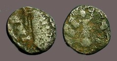 Ancient Coins - 4th Century AD Roman imitative AE4 Bust rt / Victories facing w. wreaths
