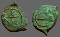 Ancient Coins - Justin II AE Pentanummium, Monogram #8 / E with officiana letter