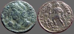 Ancient Coins - Constantius II AE2 bust left w. globe / Emperor w. 2 captives.  Alexandria, Egypt