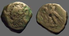 Ancient Coins - Ptolemy VI AE21 Zeus Ammon / 2 Eagles left on thunderbolt. Cyprus.