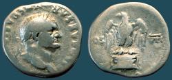 Ancient Coins - Vespasian AR silver denarius.  Eagle on cippus