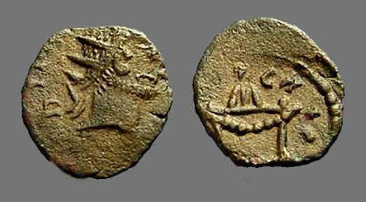 Ancient Coins - Claudius II Gothicus AE antoninianus, Lit altar with garland.  Divus Issue.