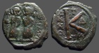 Ancient Coins - Justin II & Sophia AE21 1/2 follis.  Thessalonica  Delta officiana