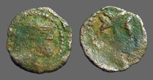 Ancient Coins - Aragon AE14 Dinar - Carlos II of Austria.  Bust left / Patriarchal Cross