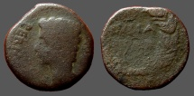 Ancient Coins - Augustus AE25 as.  JVLIA TRADVCTA in wreath.  Spain