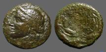 Ancient Coins - Syracuse AE15 Demeter / City name in barley wreath