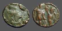 Ancient Coins - Imitative Honorius AE3 (16mm) Victory holds wreath over Honorius.  Antioch, Turkey.