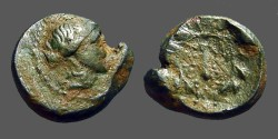 Ancient Coins - Lydia, Sardes, AE15 Apollo / Club within oak wreath.  Monogram beneath.