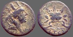 Ancient Coins - Seleukis and Pieria, Antioch AE16 Trichalkon.  Tyche / lit Altar