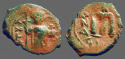 Ancient Coins - Constans II AE Follis, SB#1000.   Constans standing with long cross, and globus cruciger.