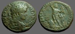 Ancient Coins - Caracalla AE26 Marcianopolis, M.I.  Apollo, holds bow, w. snake on tree to rt