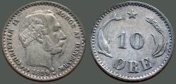 World Coins - Denmark, Christian IX AR15 (10) Ore.  1899