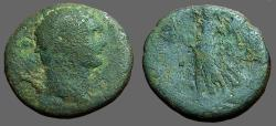 Ancient Coins - Domitian AE17 Caesarea. Victory stg. left w. trophy & wreath