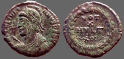 Ancient Coins - Julian II AE3 (19mm) VOT X MVLT XX within a wreath.