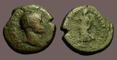 Ancient Coins - Domitian AE21 Caesarea, Nike adv w. wreath & trophy. Judaea Capta